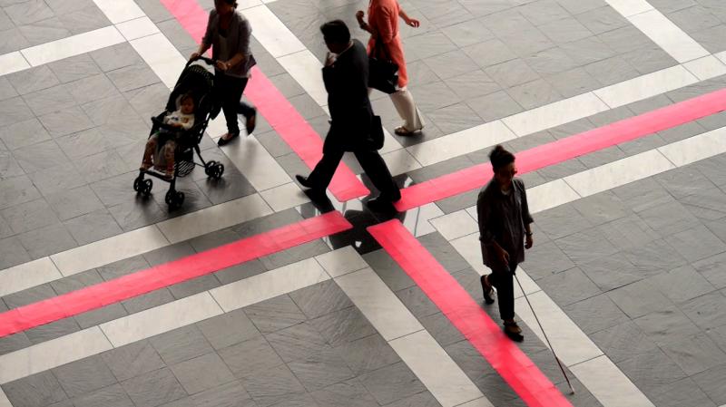 視覚障がい者歩行誘導ソフトマット 歩導くんガイドウェイ